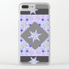 DECORATIVE GREY SNOW CRYSTALS  WINTER ART Clear iPhone Case