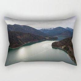 german alps road lake trees forrest drone aerial shot horizon clouds Rectangular Pillow