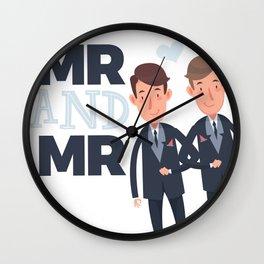 Mr and Mr gay wedding Wall Clock