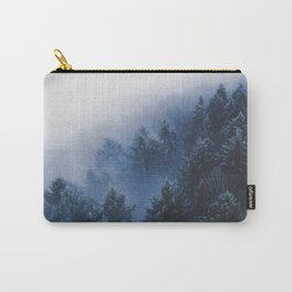 Foggy Blue Purple Mountain hill Pine Trees Landscape Nature Photography Minimalist Modern Art Carry-All Pouch