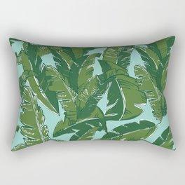 Leaves Bananique in Aqua Sea Rectangular Pillow