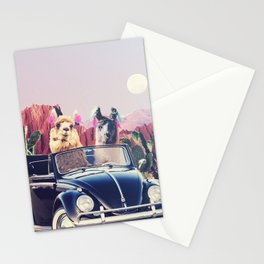 Llamas on the road Stationery Cards