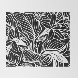Black White Floral Minimalist Throw Blanket
