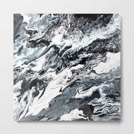 Marble in Black and White Metal Print