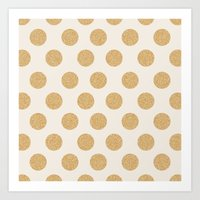 gold dots Art Prints featuring Glittering Gold Dots by Allyson Johnson