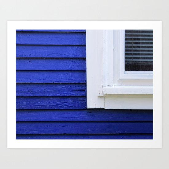 White window frame, blue clapboards Art Print