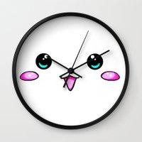 kawaii Wall Clocks featuring KAWAII by Ylenia Pizzetti