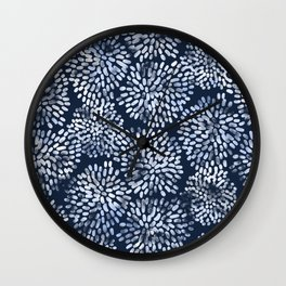 Abstract Navy Watercolor Line Flowers Wall Clock