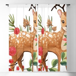 Cute Christmas Deer & Lights Blackout Curtain
