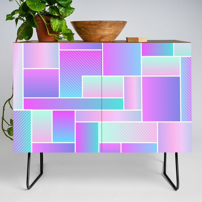 Abstract_Holographic_Pastel_Pattern_Credenza_by_Saivi__Black__Walnut