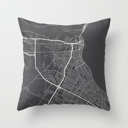 Corpus Christi Map, USA - Gray Throw Pillow