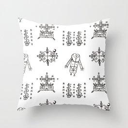 Papa Legba + Baron Samedi + Gran Bwa + Damballah-Wedo Voodoo Veve Symbols in White Throw Pillow