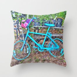 Turquoise Bicycle Throw Pillow