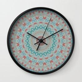 Tribal Medallion Teal Wall Clock