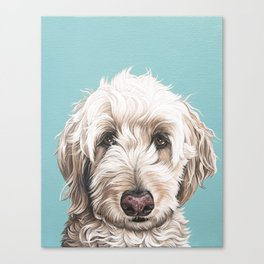 Sweet and Soulful Labradoodle Painting, Labradoodle Artwork, Portrait of a Champagne Labradoodle Canvas Print