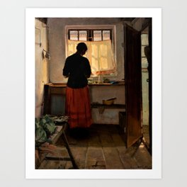 Anna Ancher - Girl In The Kitchen - Digital Remastered Edition Art Print