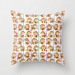 Happy spunky funky monkeys Throw Pillow