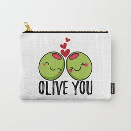 Olive You | I Love You | Valentine's Day Heart Carry-All Pouch