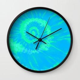 Tie dye neon blue Wall Clock