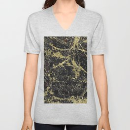 Marble - Glittery Gold Marble on Black Design Unisex V-Neck