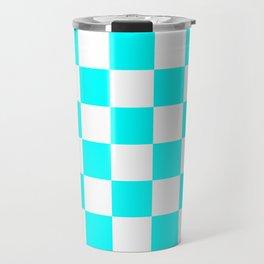 Checkered - White and Aqua Cyan Travel Mug