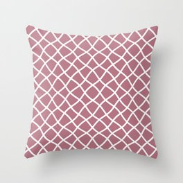 Dusty pink and white curved grid pattern Throw Pillow