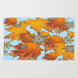 Decorative Blue Winters Snowflakes old Autumn Leaves Art Rug