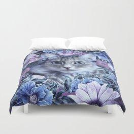 Cat In Flowers. Winter Duvet Cover