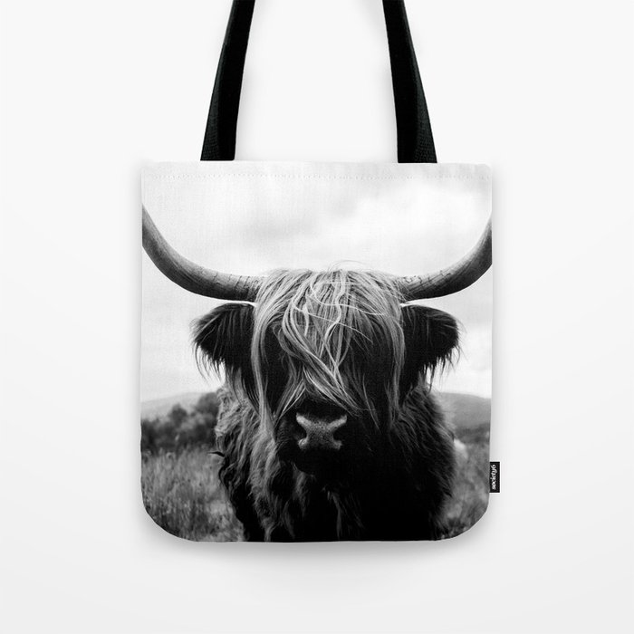 Scottish Highland Cattle Black and White Animal Tote Bag