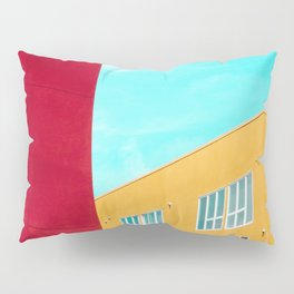 Architectural photography building red+yellow / aqua sky Pillow Sham