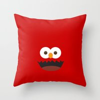 elmo Throw Pillows featuring Elmo by whosyourdeddy