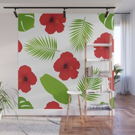 Red hibiscus and palm leaves seamless pattern. Wall Mural