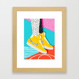 Kid You Not - memphis retro shoes fashion throwback 80s style trends minimalist art neon Framed Art Print