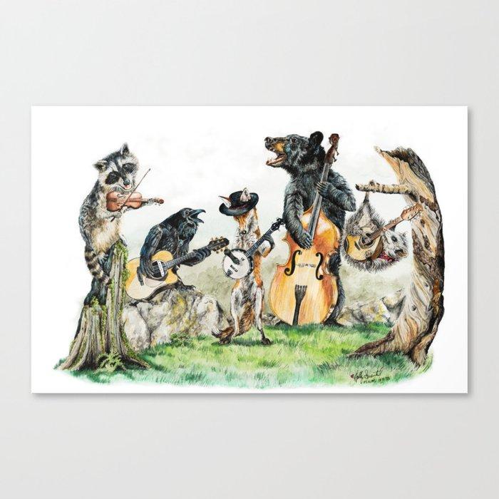 """"""" Bluegrass Gang """" wild animal music band Leinwanddruck"""