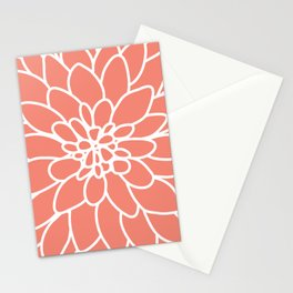 Coral Modern Dahlia Flower Stationery Cards