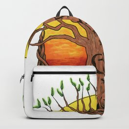 Logo, Sunset with Green Leaves Variant Backpack