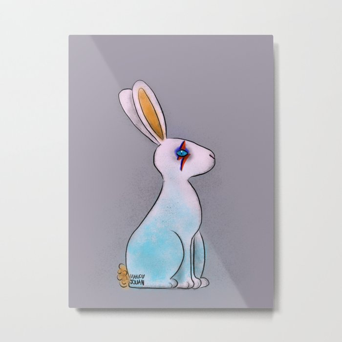 Bunny in Space Metal Print