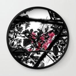 Pink in Black Wall Clock
