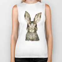 hare Biker Tanks featuring Little Rabbit by Amy Hamilton