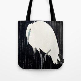 Egret standing in rain - Japanese vintage woodblock print Tote Bag