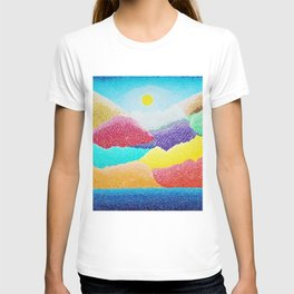 The Creation Of The Mountains by God in Jewel Tones landscape painting by Ariel Chavarro Avila T-shirt