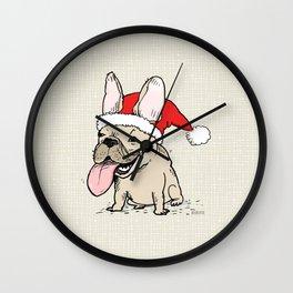 Frenchie Clause French Bulldog Santa Wall Clock