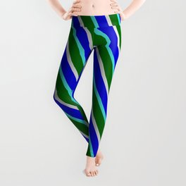 Blue, Turquoise, Dark Green, and Light Gray Colored Stripes Pattern Leggings