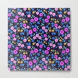 04 Ditsy floral pattern. Dark Blue background. Purple and pink flowers. Metal Print