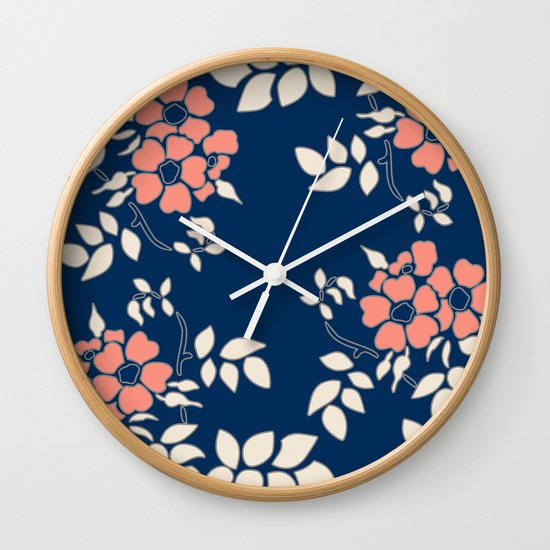 Wall Clock Floral Design : Floral in blue and coral wall clock by absentis designs