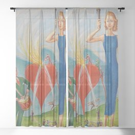 I Heart You In Flames; True Love Surrealism portrait painting by Nils Dardel Sheer Curtain