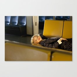 The Ferry, Lying down on yellow seats Canvas Print