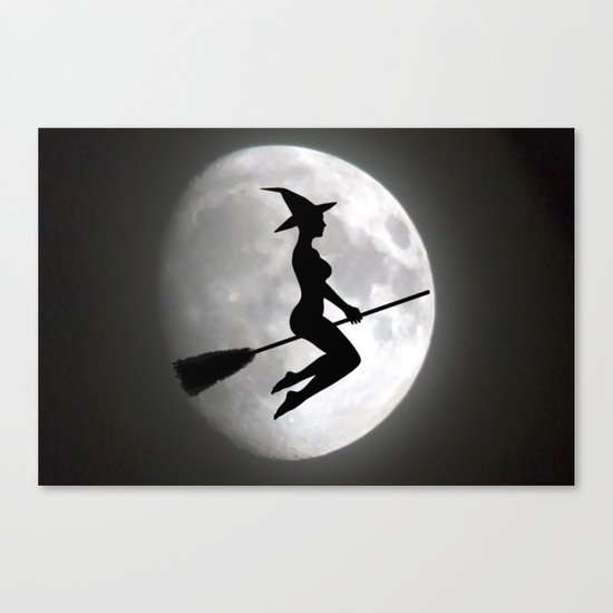 Witch On a Broom Against the Moon Canvas Print