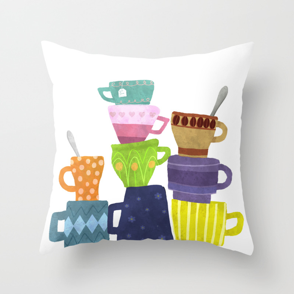 Coffee And Tea Cups And Mugs Stacked High Throw Pillow by Sunnybunny PLW7998753