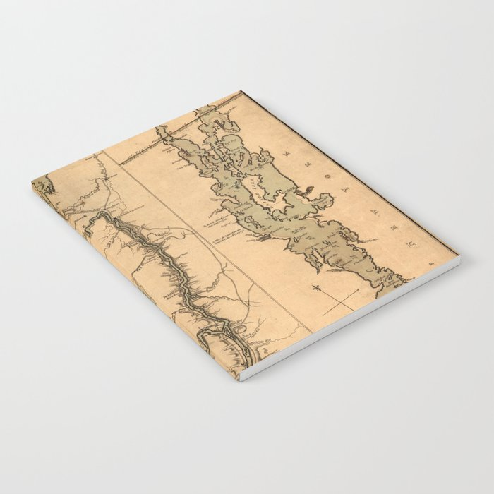 Map Of The Hudson River 1777 Notebook